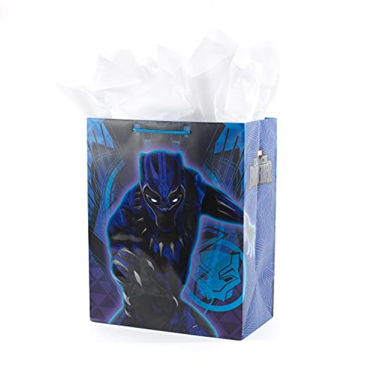 Hallmark Large Avengers Gift Bag with Tissue Paper for Birthdays, Kids Parties or Any Occasion (Black Panther)