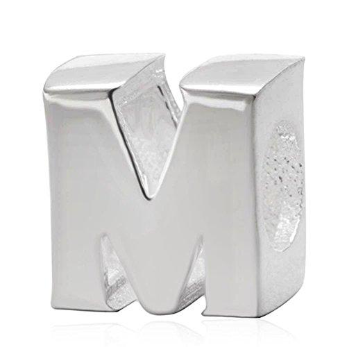 Abalorio de plata de ley 925 con diseño de letra A-Z, se adapta a pulseras Pandora M