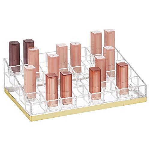 mDesign praktischer Lippenstift Organizer – dekorative Kosmetik Aufbewahrungsbox für Nagellack und Lippenstift – Ablage mit 40 Fächern zur Schminkaufbewahrung – durchsichtig und messingfarben