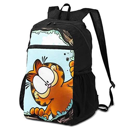 Jiadourun Anime Garfield Paquete de almacenamiento plegable mochila ligera mochila multiusos práctica plegable al aire libre mochila para hombres y mujeres