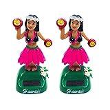 Amosfun - 2 giocattoli per auto a energia solare, bambole hawaiane, bambole, ballerine, giocattoli, statuine mobili, per bambine, a energia solare, colore: rosa