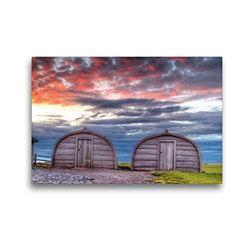 Premium Textile Canvas 45 cm x 30 cm Landscape Boat Sheds Holy Island Wall Picture on Stretcher Frame Ready Picture on Real Canvas Canvas Print Calvendo Places Calvendo Places