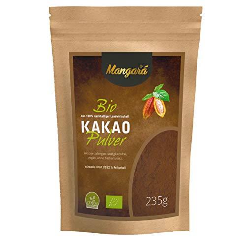 Mangara® Bio Kakao-Pulver 235 g, schwach entölt 20/22% Fett, ohne Zucker, Laktosefrei, ohne Zusatzstoffe, allergen- und glutenfrei, (DE-ÖKÖ-039) zertifiziert