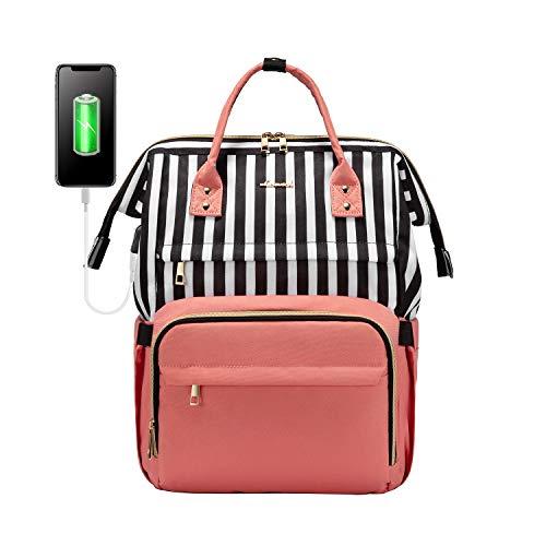 LOVEVOOK Rucksack Damen mit 15,6 Zoll Laptopfach, Women Backpack Mädchen Teenager Girls mit USB Ladeanschluss, Wasserdicht Laptoprucksäcke für Schule Lehrer Business Uni Student
