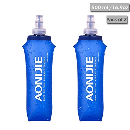 TRIWONDER TPU Botella Soft Flask Bolsa de Hidratación Plegable a Prueba de Fugas Ideal para Mochila de Hidratación para Correr Ciclismo Senderismo (500 ml / 16.9 oz - Paquete de 2)