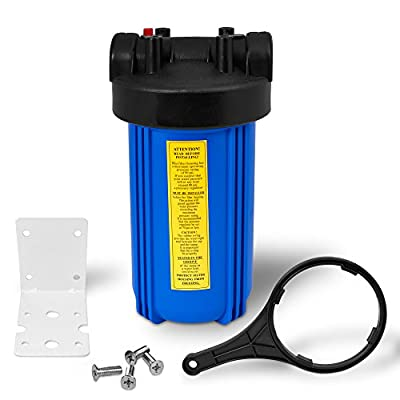 """10"""" Big Blue Housing for Whole House Water Filtration System, 1"""" Brass Port, Mounting Hardware Included!"""
