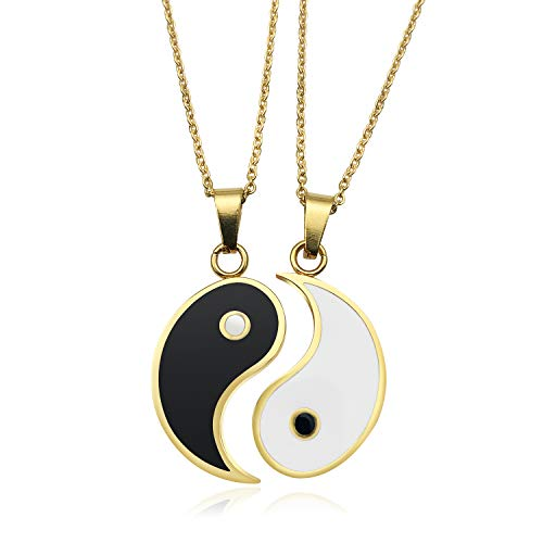 JUXINDA Stainless steel best friend puzzle pendant 2 Piece Mens Womens Friendship Yin Yang Ucklace Pendant Couples Necklace friendship necklace yin and yang heart necklac (Gold)