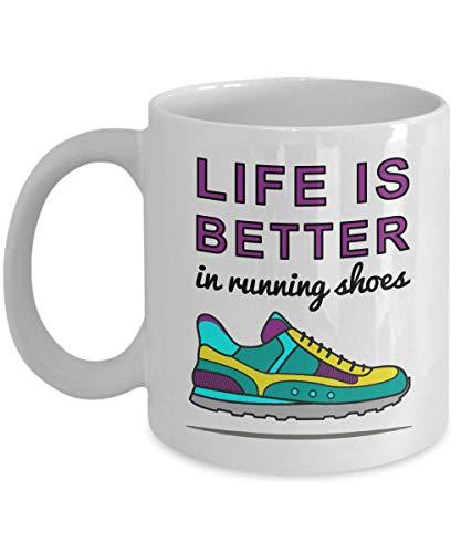 LIFE IS BETTER in Running Shoes Mug - Runner Gifts, Runner Mugs, Runner Christmas Gift, Runner Birthday Gift, Running Gifts, Running Mugs