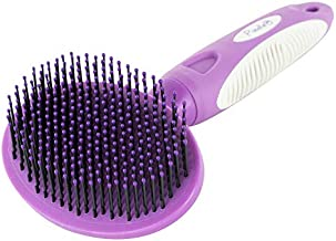 Round Bristle Pet Brush for Dogs and Cats - Gentle Grooming for Short or Long Hair - Soft Tool for Sensitive Skin Removes Dander, Dirt, and Detangles - Purple