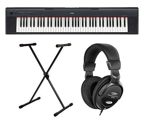 Yamaha NP-32 Pianoforte con tasti dinamici 76 tasti colore nero SET con supporto e cuffie