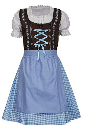 MS-Trachten MS-Trachten 3 teiliges Kinder Dirndl Emma (104, braun hellblau)