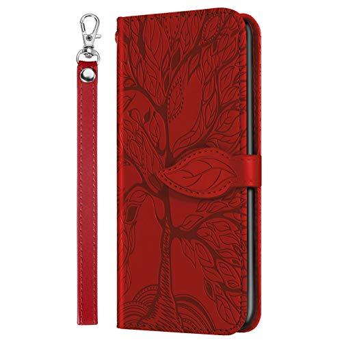 Beschermhoes voor Samsung Galaxy A22 5G, motief reliëf, boom des levens, beschermhoes voor portemonnee, opvouwbaar, met standfunctie, cadeautasje telefoon rood