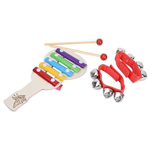 Jacksking Musikalisches Spielzeug, schönes Aussehen, feine Verarbeitung, ungiftig, harmlos, 2 Sätze Kinder pädagogisches Musikspielzeug Armband Jingle Bells & 5-Noten-Xylophon