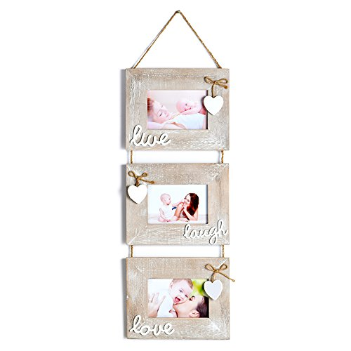 Yaetm Live Laugh Love Collage Hanging Picture Frame 4x6', Solid Wood 3 Photo Frames Set, Wall Mount Verticval Display, Rustic Grey