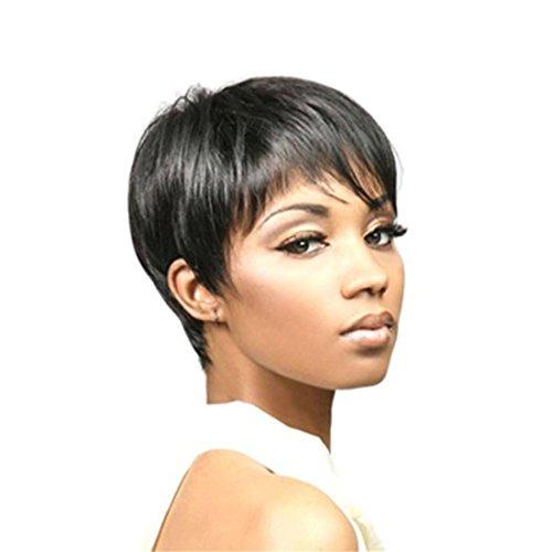 MSKAY-COSPLAY Very Natural Looking Fashion Femme à la Mode Short Black Synthetic Boycut Wig pour vêtements Quotidiens