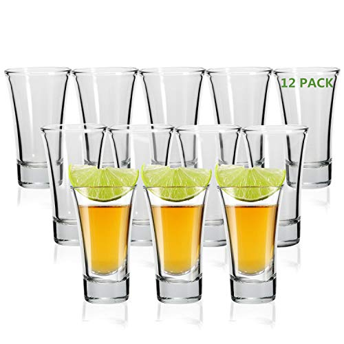 Shot Glass, RUCKAE 2-Ounce Shot Glasses with Heavy Base, Clear Shot Glasses Set of 12 (Cone Shaped)