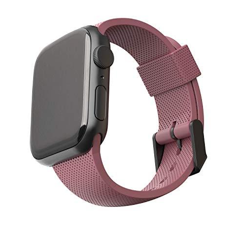U by UAG [U] Dot Strap Silikon Armband für Apple Watch 42mm / 44mm [Watch SE, Series 6 / Series 5 / Series 4 / Series 3 / Series 2 / Series 1, Weiches Silikon, Edelstahl Verschluss] Dusty Rose