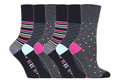 6 pairs Ladies SockShop Cotton Gentle Grip UK 4-8, EUR 37-42 Socks - NEW variations (6 x RH191)