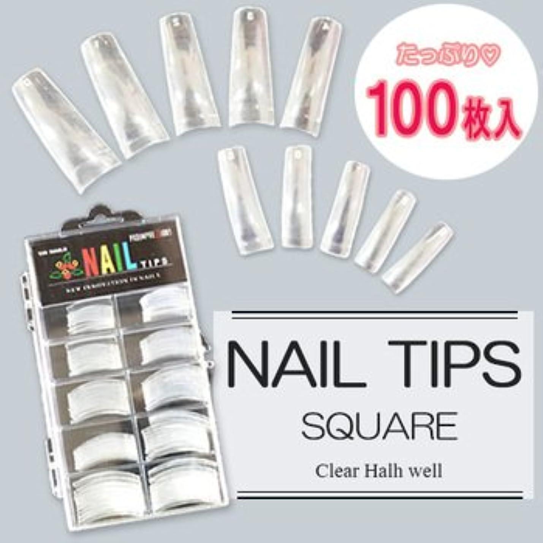 工場レトルトのみネイルチップ(クリア) 100枚入 #0~9サイズ つけ爪 ハーフチップ ネイルアート