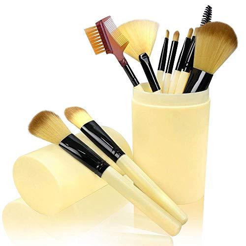 Juego De Pinceles De Maquillaje De 12 Piezas, Pincel De Maquillaje Profesional Con Multicolor Para Contorno Facial, Sombreado, Resaltado, Brillo De Labios, Sombra De Ojos-Beige
