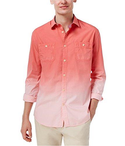 Tommy Hilfiger Men's Burke Fade Cotton Shirt (Large, Porcelain Rose)