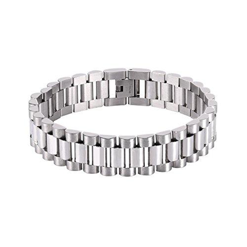 U7 Klassische Herren Armband Edelstahl Gliederarmband Armkette einfaches verstellbares Armband 22cm Männer Jungen Armschmuck Accessoire Weihnachten