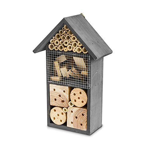 FiNeWaY Natural Wood Insect Bee Hotel House - Garden Shelter Bamboo Nesting Habitat - For Bees Butterflies Ladybugs Bugs – Hanging or Free Standing (Medium/Grey)