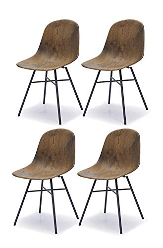 Meubletmoi - Set di 4 sedie scandinave, finitura decorativa in legno scuro, design industriale vintage