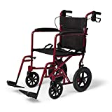 Medline Lightweight Transport Wheelchair with Handbrakes, Folding...