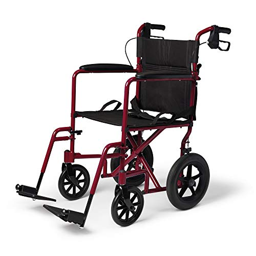 Medline Lightweight Transport Wheelchair with Handbrakes, Folding Transport Chair for Adults, 12 inch Wheels, Red