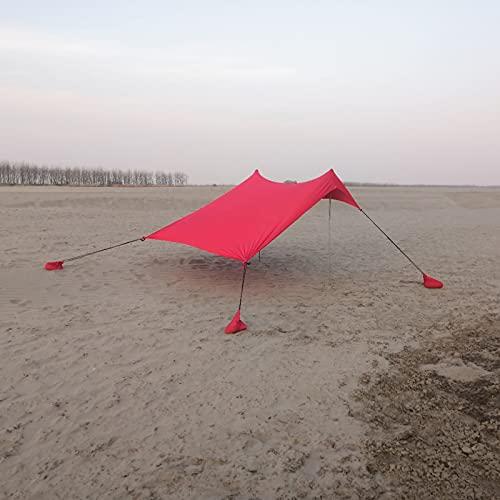 Toldo Sombrilla de Playa Resistente al Viento Refugio Pabellón Toldo Protección UV con Anclas de Bolsa de Arena Portátil para Picnic en la Playa Pesca Camping,Red,210 * 170 * 150cm