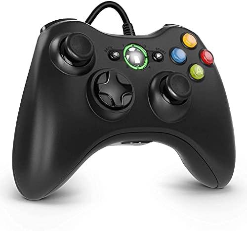 Diswoe Manette Xbox 360, manette de jeu USB pour Xbox 360, design amélioré, contrôleur de câble ergonomique pour Xbox 360 Slim et PC avec Windows XP/Vista/7/8/8.1/10