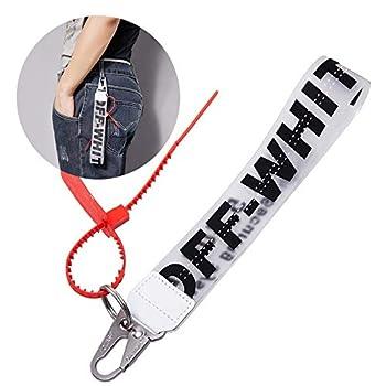 Off Lanyard Keychain Industrial Belt Keychain Personality Rubber Strap Lanyard Durable Office Badge Lanyard Unisex Cool Wrist Lanyard Key Chain can Hang Key Wallet Jeans Decoration Lanyard Black