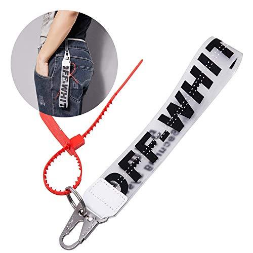 Off Lanyard Keychain, Industrial Belt Keychain Personality Rubber Strap Lanyard Durable Office Badge Lanyard, Unisex Cool Wrist Lanyard, Key Chain can Hang Key, Wallet, Jeans Decoration Lanyard Black