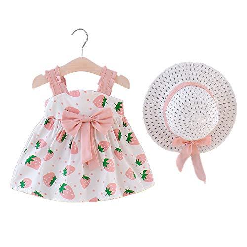 MAHUAOYIXI Vestido de verano para niña, estampado floral, vestido de princesa para bebé, estampado de fresa, gorro de verano