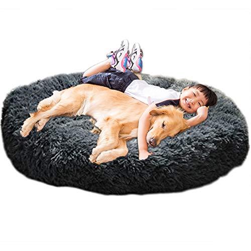 HANHAN Donut - Cama para perro, extra grande, XXL, ortopédico, cojín calmante, mimbre, antiansiedad, xxxl sofá, mullido, cueva, para dormir, lavable, tamaño mediano, tamaño XL, color gris oscuro