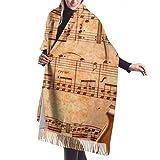 27'x77' Diseñador de moda Pañuelo en la cabeza Violonchelo en una hoja de música antigua Oxidado Viejo Amarillo Pa Wrap Chal Hombres Bufanda Mujeres Elegante Gran manta cálida
