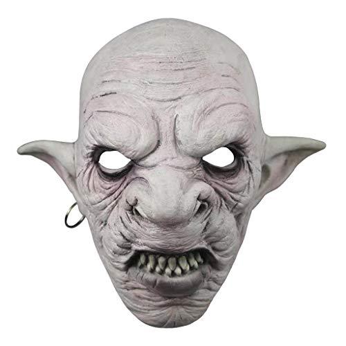 WT-YOGUET Coole Kobolde Maske mit Ohrringe am Ohr Halloween Horror Maske Gruseliges Kostüm