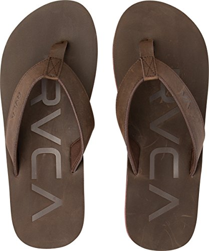 RVCA Federal Sandals Dark Brown Synthetic Flip-flop 11 M US