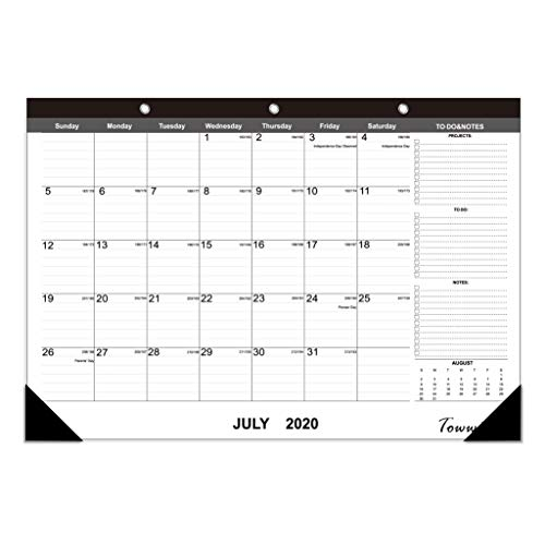 "TOWWI 2020- December 2021 Year Monthly Desk Pad Calendar, 16.8"" x 11.7"", Black Wall Calendar"