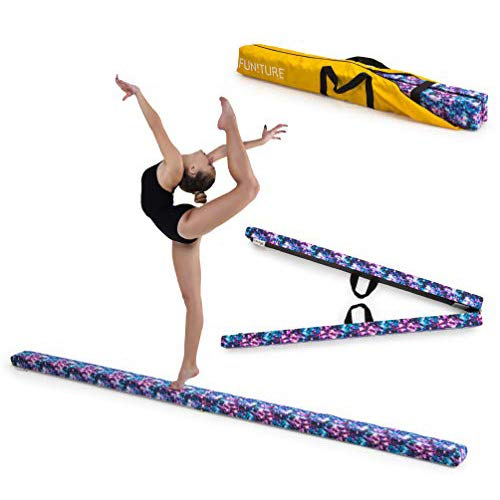 Fun!ture 2.1m Faltbarer Gymnastik Balancierbalken | Bedrucktes Wildlederimitat | Kinder-HeimFitnesstraining Kostenloser Aufbewahrungskoffer | Tragegriffe | Füße aus Edelstahl (Sterne)