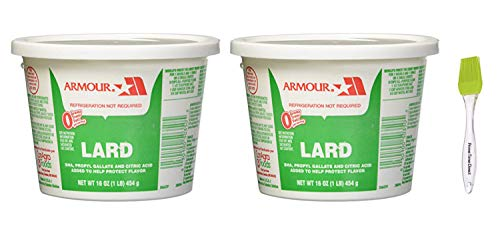Armour Lard Star Tubs 16 oz (Pack of 2) Bundle with PrimeTime Direct Silicone Basting Brush in a PTD Sealed Bag