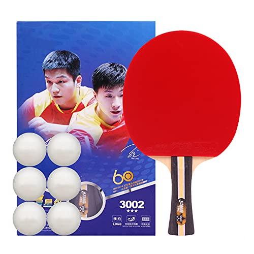 LINGOSHUN Raquetas de Ping Pong,Mango Acampanado,Raquetas de Tenis de Mesa PortáTiles para Aficionados,Principiantes,Aprobado por la ITTF / 1 Pack/Long handle