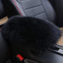 TRUE LINE Automotive Fluffy Soft Furry Car Center Console Armrest Elbow Cushion Comfort Pillow Pad (Black)