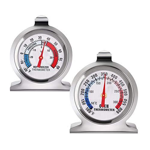 INRIGOROUS, termometro per frigorifero e forno da cucina, quadrante in acciaio inox, termometro da forno e frigo/freezer con gancio per appendere e supporto retrattile per la cucina domestica