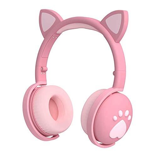 Auriculares para niños, auriculares con Bluetooth, oreja de gato, con luz LED, auriculares inalámbricos plegables sobre la oreja con...