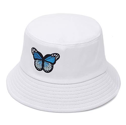 GEMVIE Sonnenhut Herren Damen Bucket Hat Sommer Fischerhut mit Schmetterling Faltbar Anglerhut M Weiß