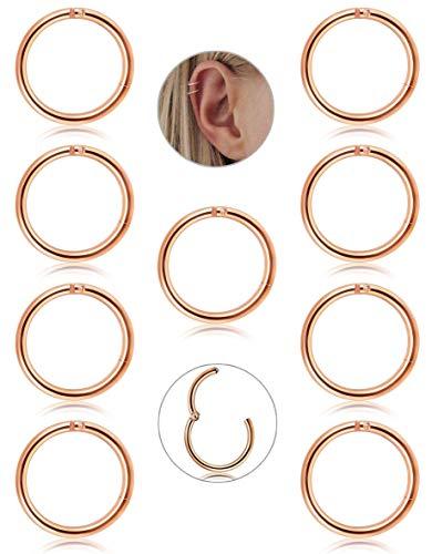 Adramata 9 Stücke 16g Edelstahl Nase Hoop Ring für Männer Frauen Piercing Ohr Nasen Piercing Knorpel Creolen Helix Septum Piercing Schmuck Set