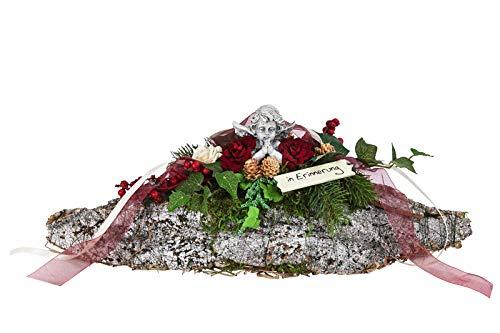 Dehner Grabgesteck Schiff, handgefertigt, Länge ca. 32 cm, Naturmaterialien/Kunststoff, braun/grün/rot