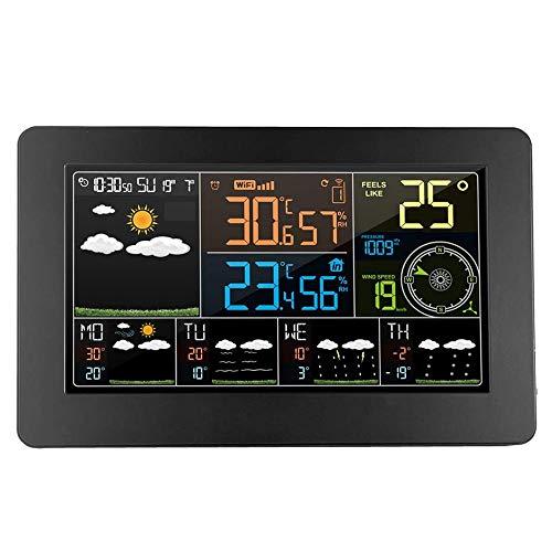VANLAMP WiFi Estaciones Meteorológicas con Sensor Exterior Inalámbrico, Anemómetro Barómetro Termómetro Higrómetro, 6 Tipos Pronóstico del Tiempo Reloj Alarma 12 Fases Lunares Pantalla Digital